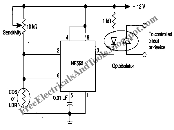 free schematic diagram  555 ic u2019s hysteresis for dark activated relay circuit