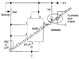 555 IC's Hysteresis for Dark Activated Relay Circuit