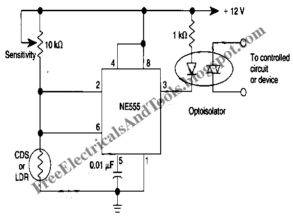 Free Schematic Diagram: 555 IC's Hysteresis for Dark Activated Relay Circuit