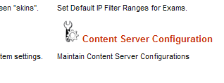 Content Server Configuration menu item