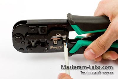 Снатие изоляции с кабеля витой пары с помощью кримпера
