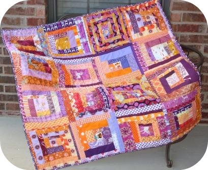Orange + Purple Wonky Quilt