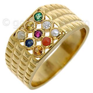 Diamond Jewellery Navaratna Ring With Diamond 18k Gold