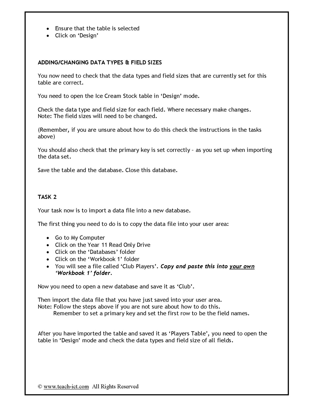 World Of Ict Lesson 5 Data Handling Task Workbook 1