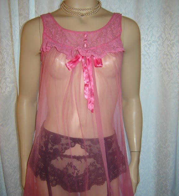 SissymaidCloset Vintage 50s Sheer Pink Valmode Babydoll