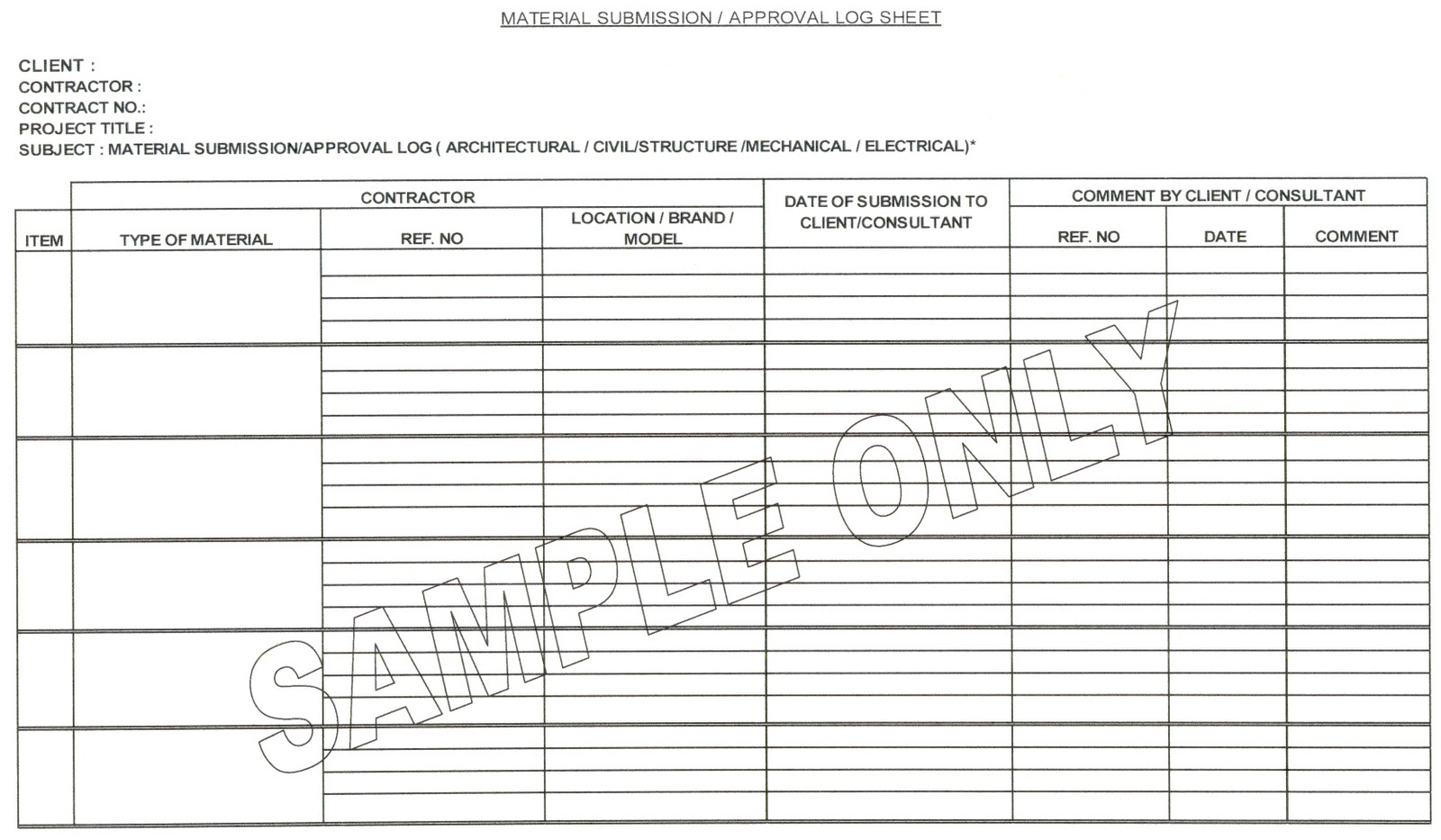 CONSTRUCTION MANAGER MATERIAL APPROVAL LOG FORM