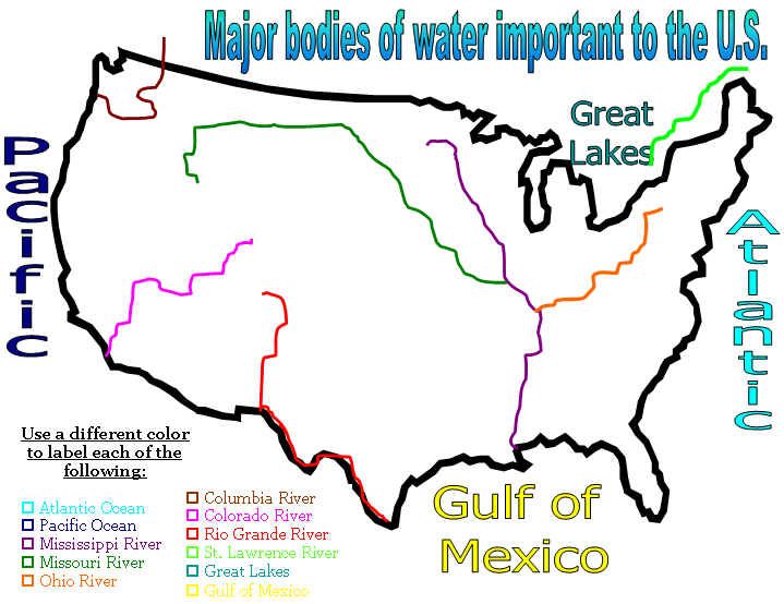 ies of water map united states images