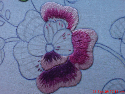 Flora's Colors: Embroidered handkerchief
