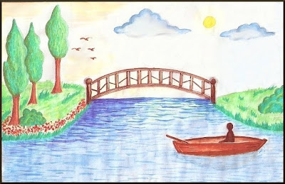 Watercolor Drawing of a Bridge