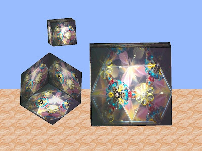 Floating cubes of kaleidoscope images -2. 3D Art