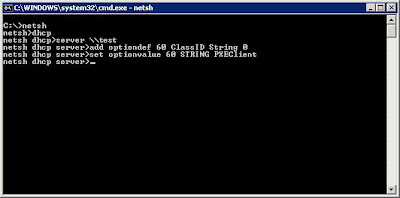 Configuring Windows 2003 DHCP for PXE Clients