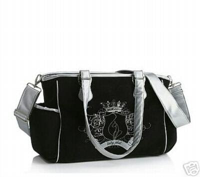 Baby Phat Black And Silver Plush Diaper Tote Bag Ny Changing Pad Sold