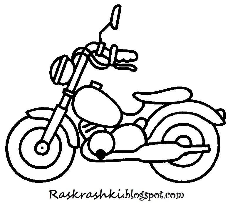 Раскрашки мотоциклов для детей.