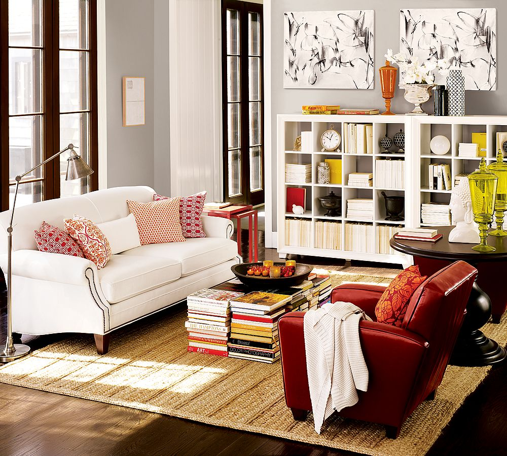 Pottery Barn Living Room With Carpet And Decorative Plant: Pottery Barn Architect's Floor Lamp