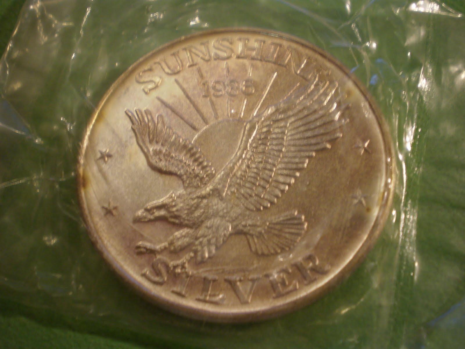 Ounces Of Silver 1986 Sunshine Mint 999 Silver One Troy Ounce Eagle Bullion Round Coin