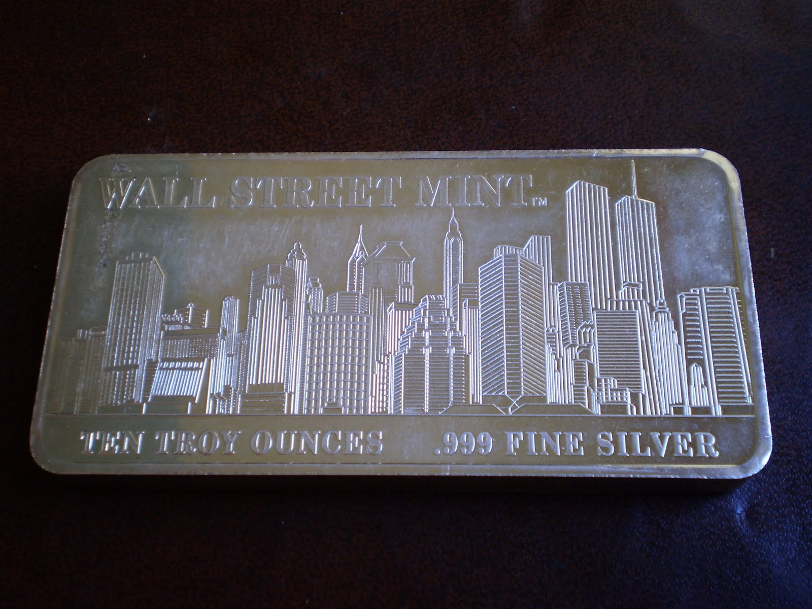 Silver Gold Bar Wall Street Mint Ten Troy Ounce Silver