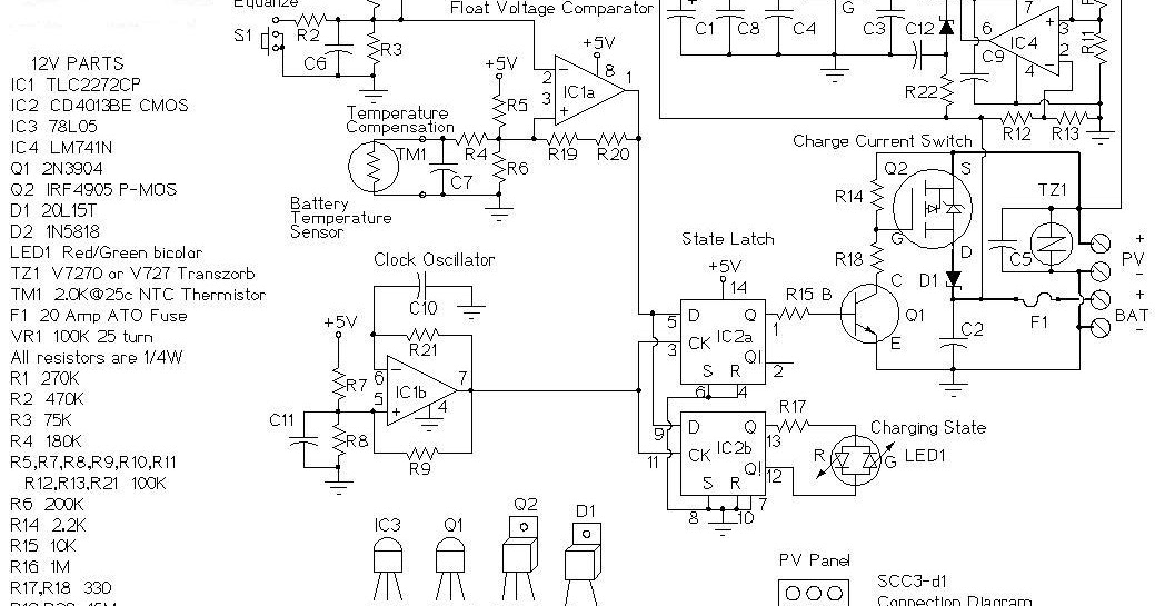 12 VOLT 20 AMP SOLAR CHARGE CONTROLLER CIRCUIT DIAGRAM