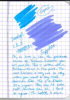 Quickest Review of Pelikan Edelstein Topaz Ink