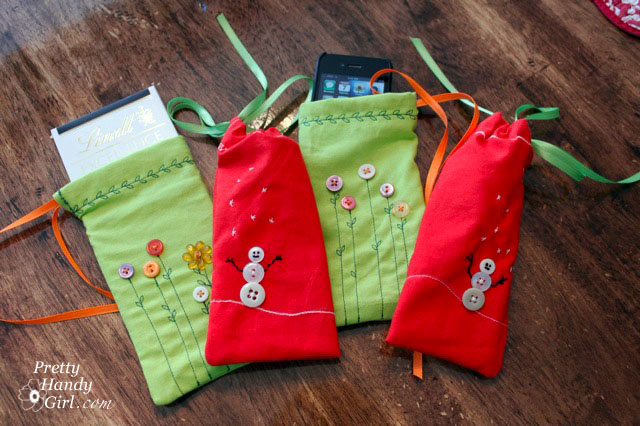 drawstring gift bags made from cloth napkins