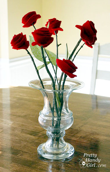 wool roses on a stem