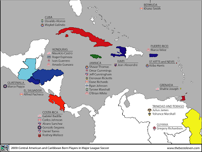 The Best Eleven: Map: 2009 MLS Central American and ... Central American And Caribbean Map on usa and central american map, american and central american map, southern and central american map,