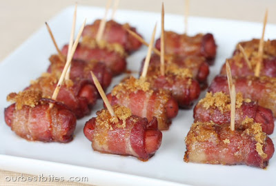 Image result for sausages wrapped in bacon