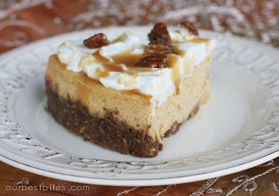 slice of Pumpkin Cheesecake with Pecan-Gingersnap Crust