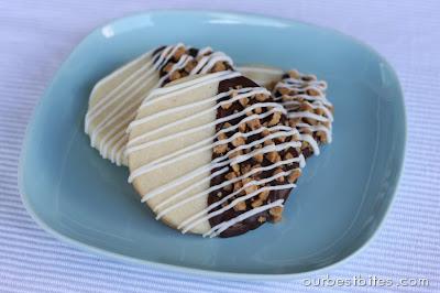 Chocolate Toffee Sugar Cookies on Blue Plate