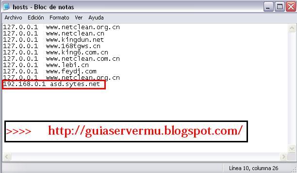 Configurando el archivo host del sistema
