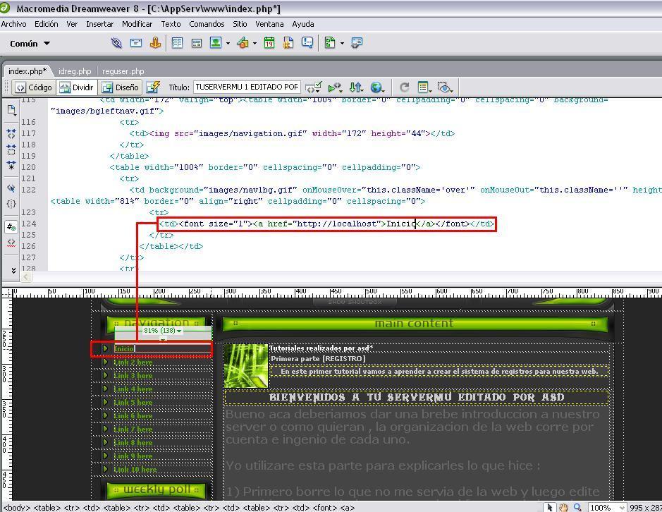 Modificando links del sitio web