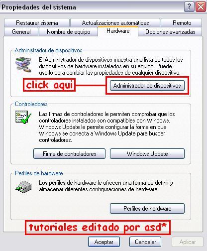 Seleccionando la opción administrador de dispositivos