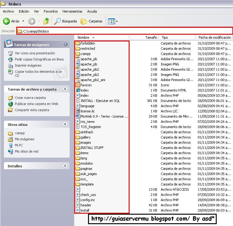 Carpeta y archivos de la webmu