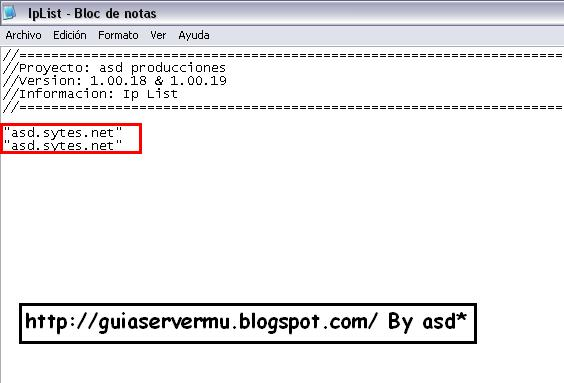 Configuración del iplist