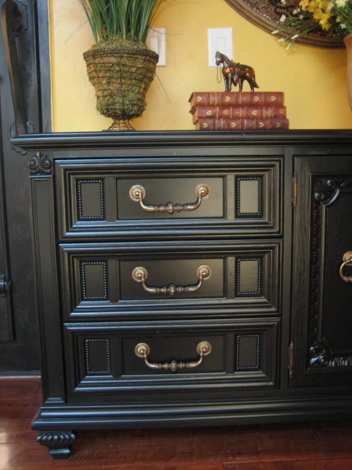European Paint Finishes Black Ornate Dresser