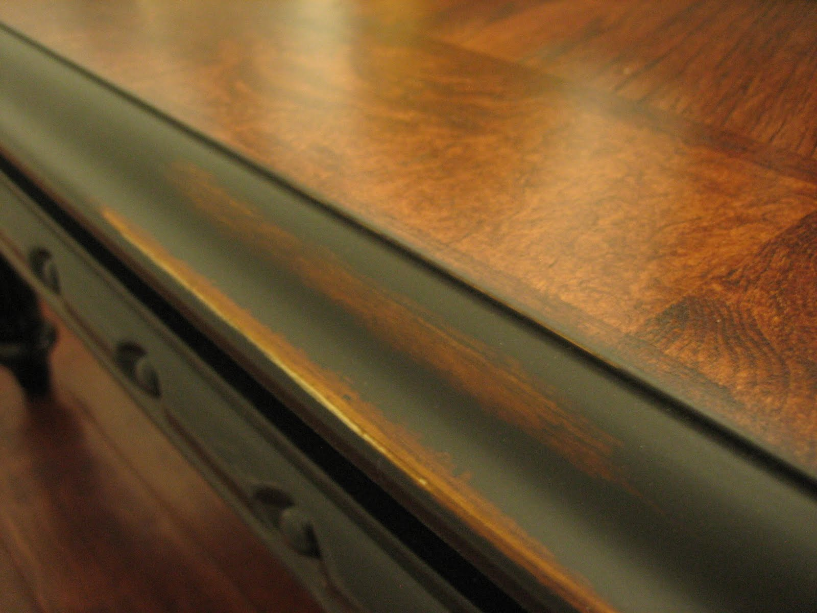 European Paint Finishes Rustic Black Coffee Table