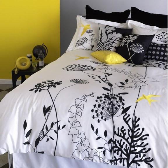 Black White Yellow Black White And Yellow Bedding