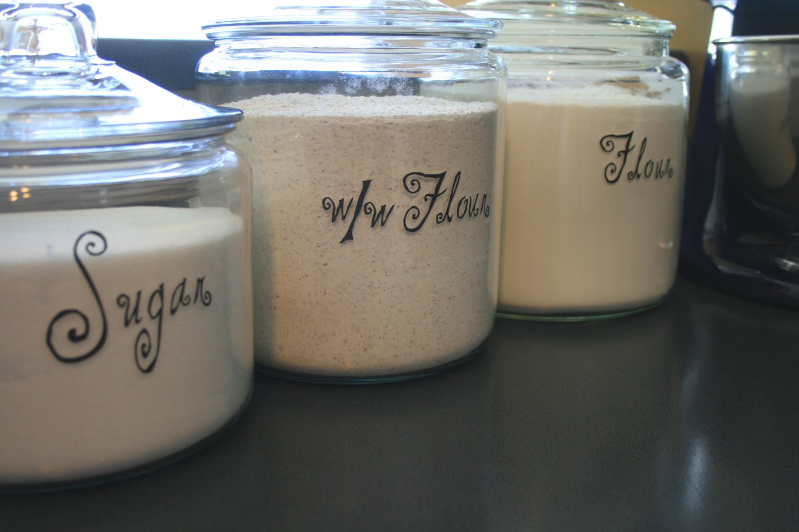 decorative glass jars for kitchen cabinet islands easy way to label echoes of laughter