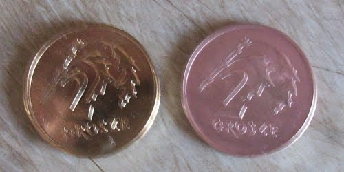 a coin coated with coper by using galvanization