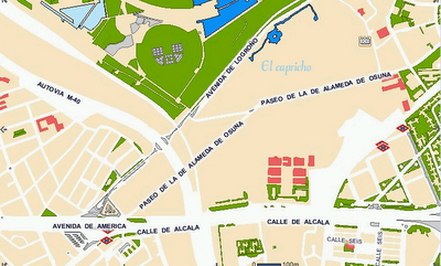 Direcciones a Parque De El Capricho (Madrid) en transporte público