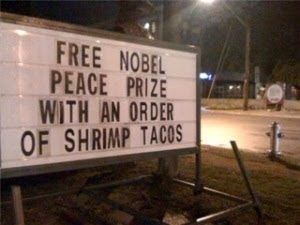 Free Nobel Peace Prize with order of fries