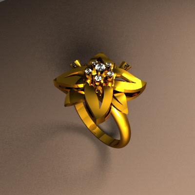 Men s & Women s Ring Models Gold Flower Rings