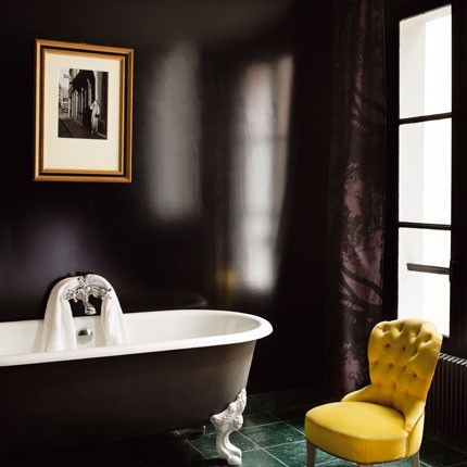 Tufted Yellow Chair Grey Covers Amazon 3 Things To Love The Tale Of A In Bathroom Dark Walls Make This Sparkle