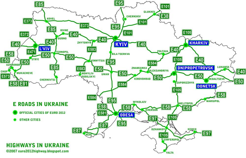 Evropejskie Marshruty Avtodorog Ukrainy Karta Avtomobilnye