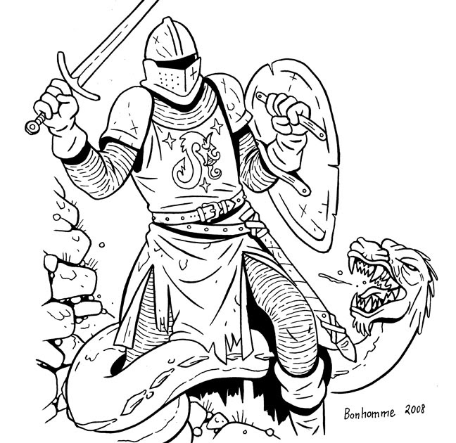Les Sketcheurs Cosmiques: Un chevalier combat un dragon