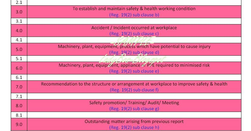 E Learning Workshop Oshe Sample Safety Health Monthly Report