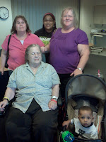Sharon, Caillie, Sue; seated: Mom, Caillie's client)