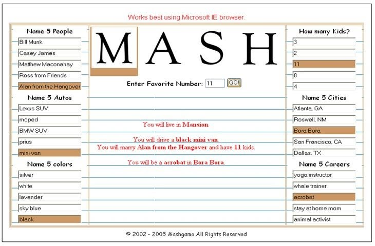 graphic relating to Mash Game Printable identified as This Sport Of MASH Will Deliver Your Heart College Desires Occur Legitimate