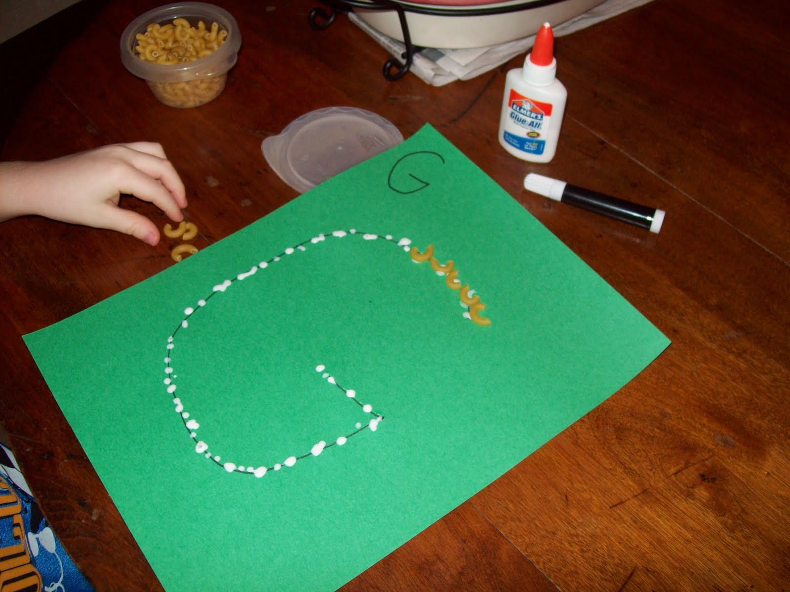 Learning The Letter G And Macaroni Art