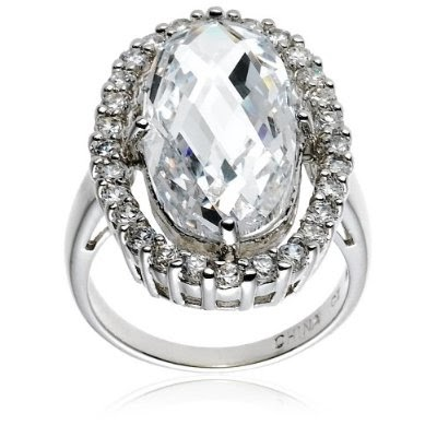 Sterling Silver Oval Cubic Zirconia Cocktail Engagement