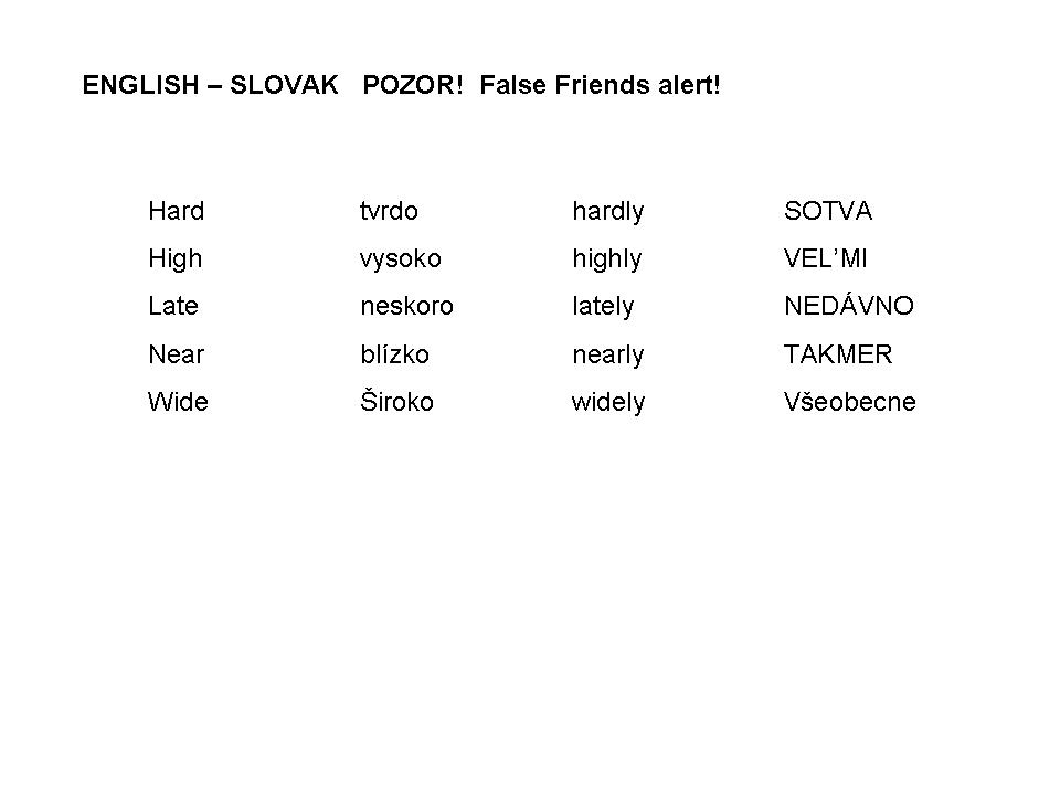English Slovak POZOR - ALERT Language Learning